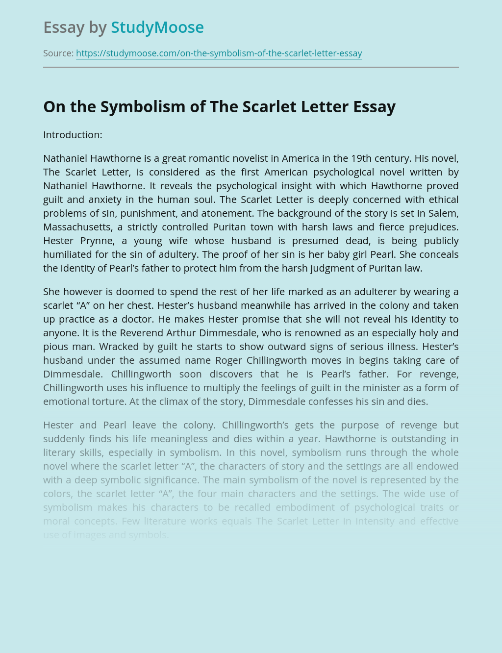 On the Symbolism of The Scarlet Letter