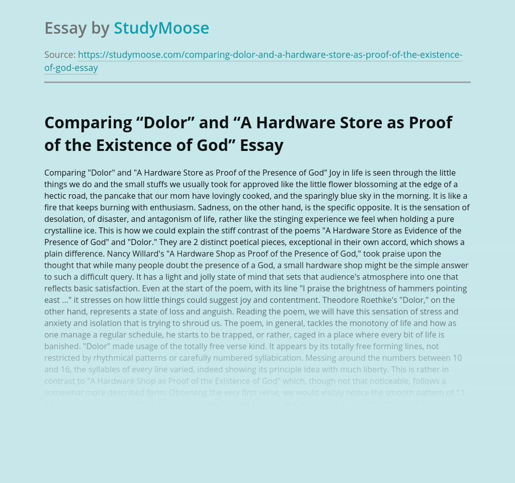 """Comparing """"Dolor"""" and """"A Hardware Store as Proof of the Existence of God"""""""