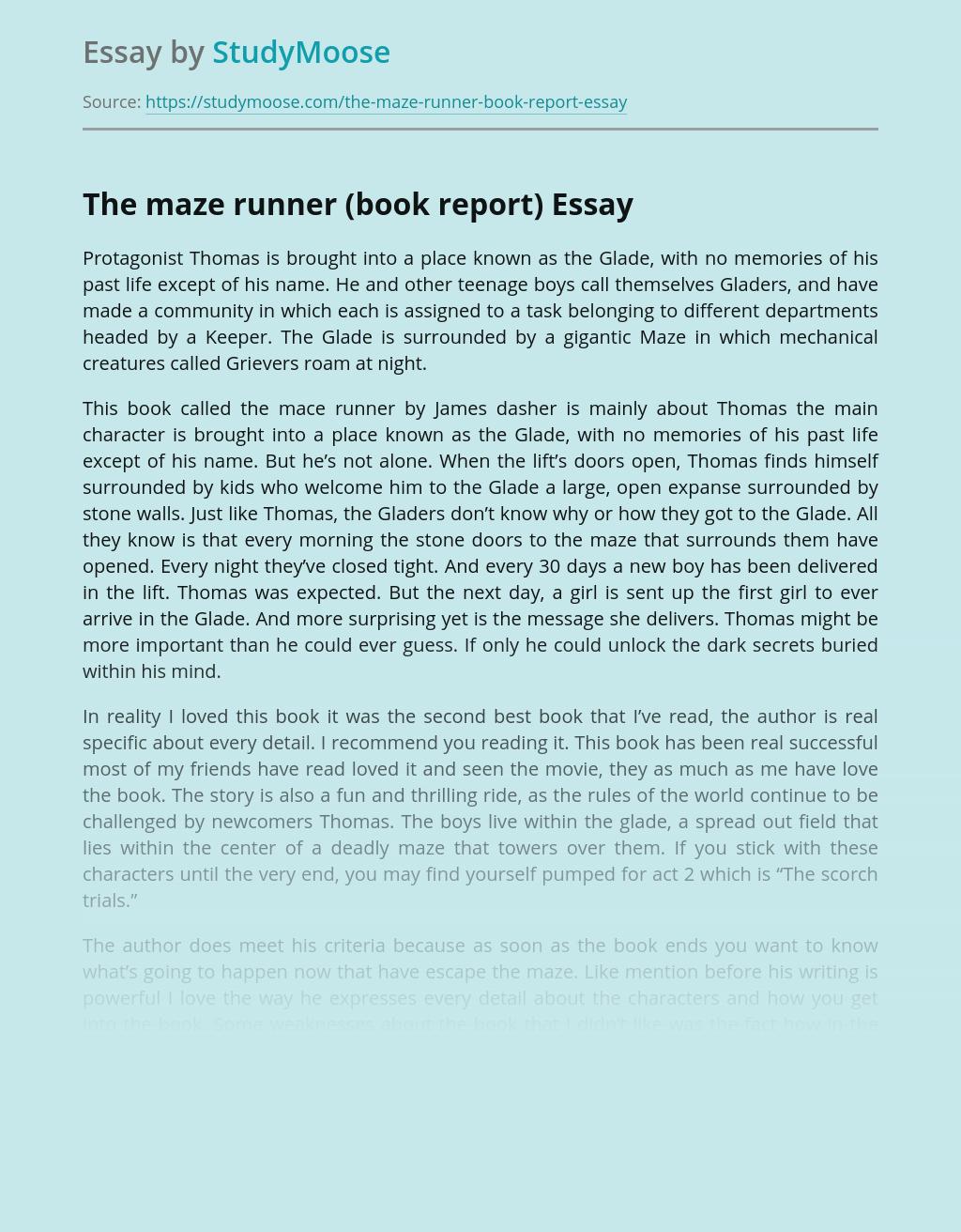 The maze runner (book report)