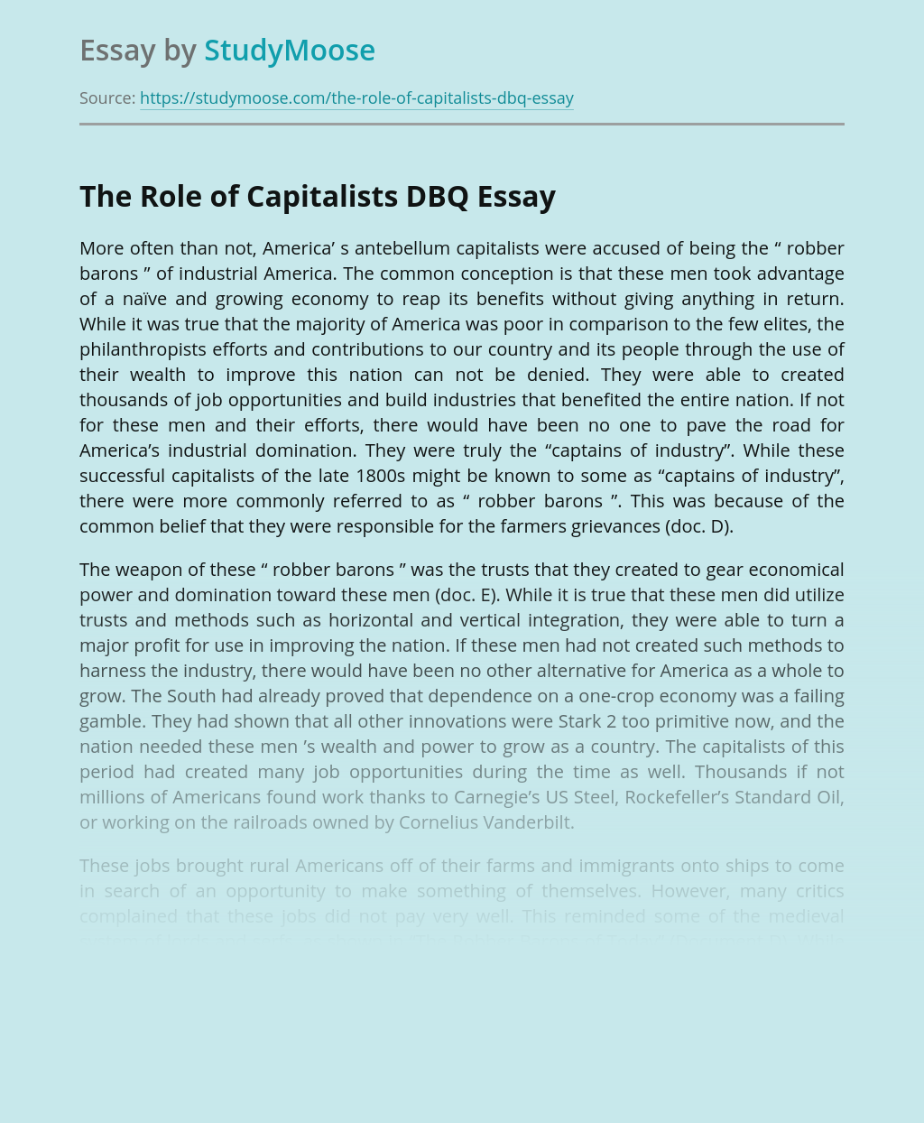 The Role of Capitalists DBQ