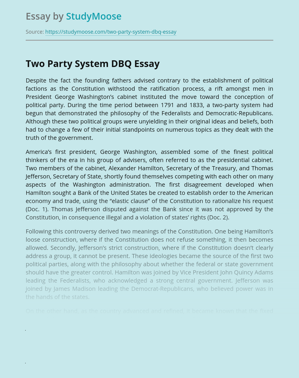 Two Party System DBQ