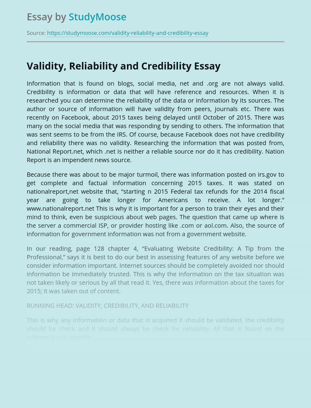 Validity, Reliability and Credibility