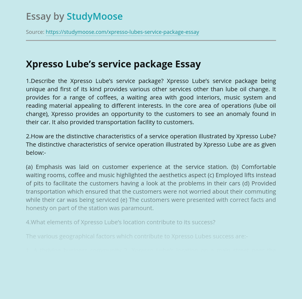Xpresso Lube's service package
