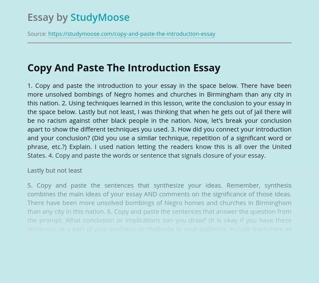 Copy And Paste The Introduction