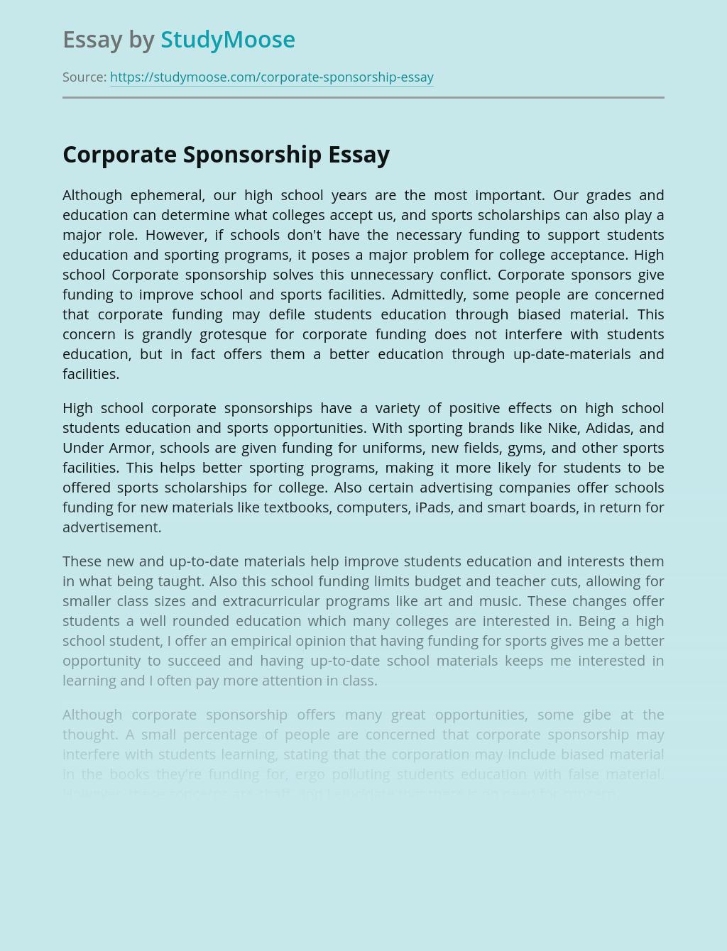 Corporate sponsorships in schools essays soccer coach sample resume