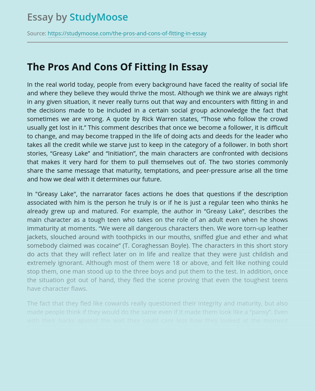 The Pros And Cons Of Fitting In