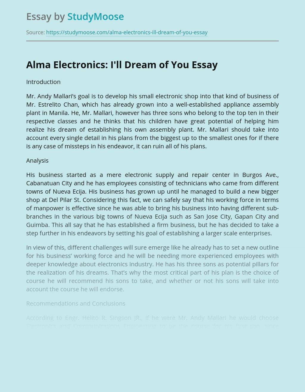 Alma Electronics: I'll Dream of You