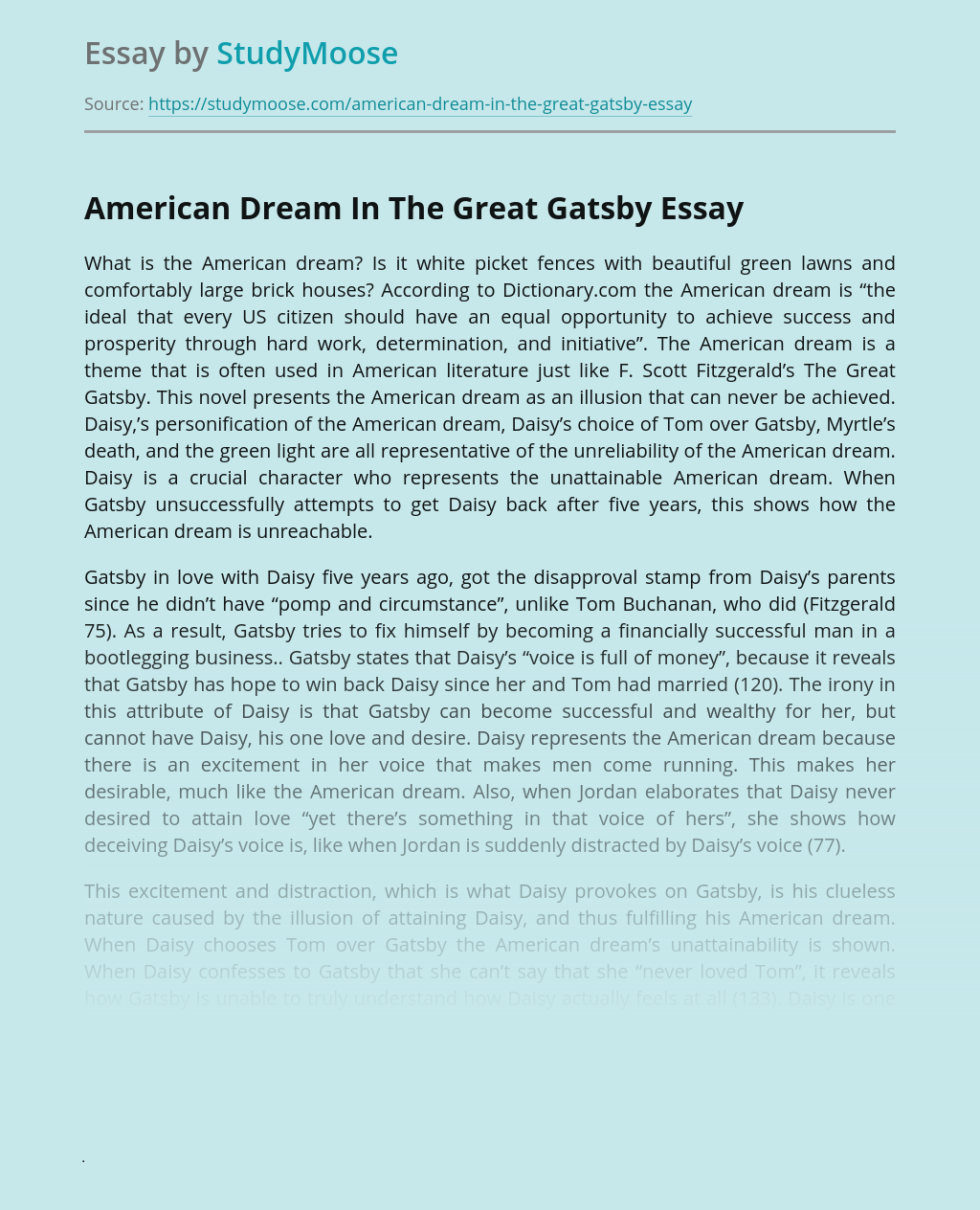 American Dream In The Great Gatsby