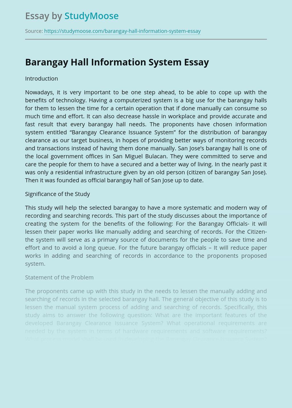 Barangay Hall Information System