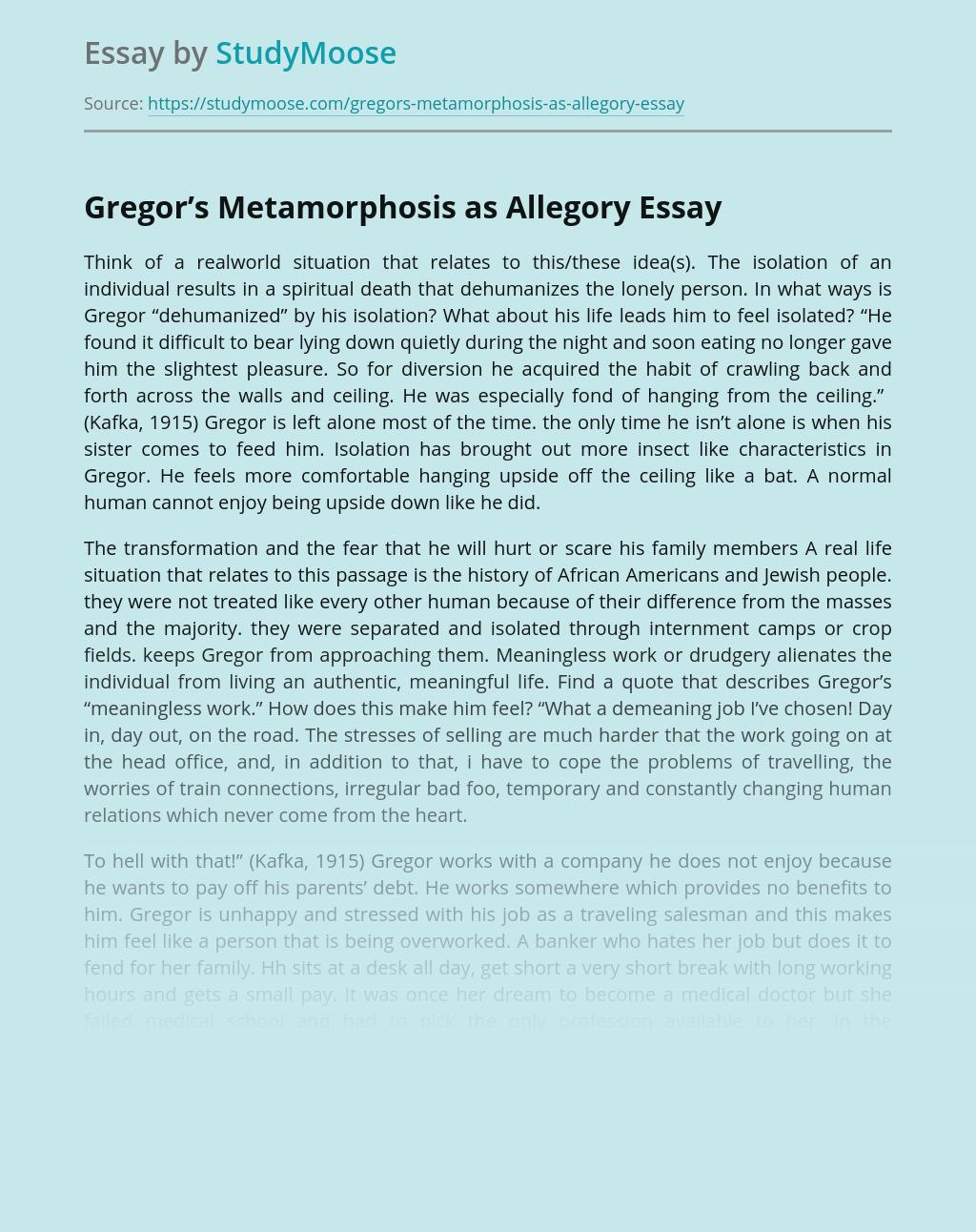 Gregor's Metamorphosis as Allegory