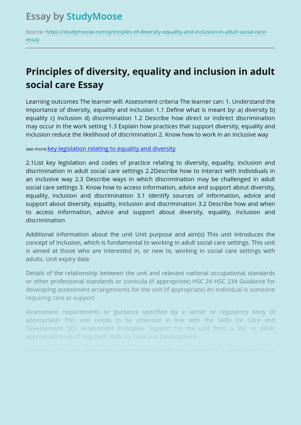 Principles of diversity, equality and inclusion in adult social care