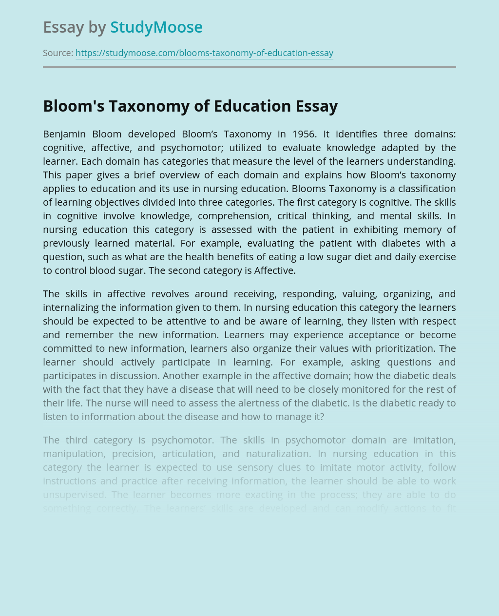 Bloom's Taxonomy of Education