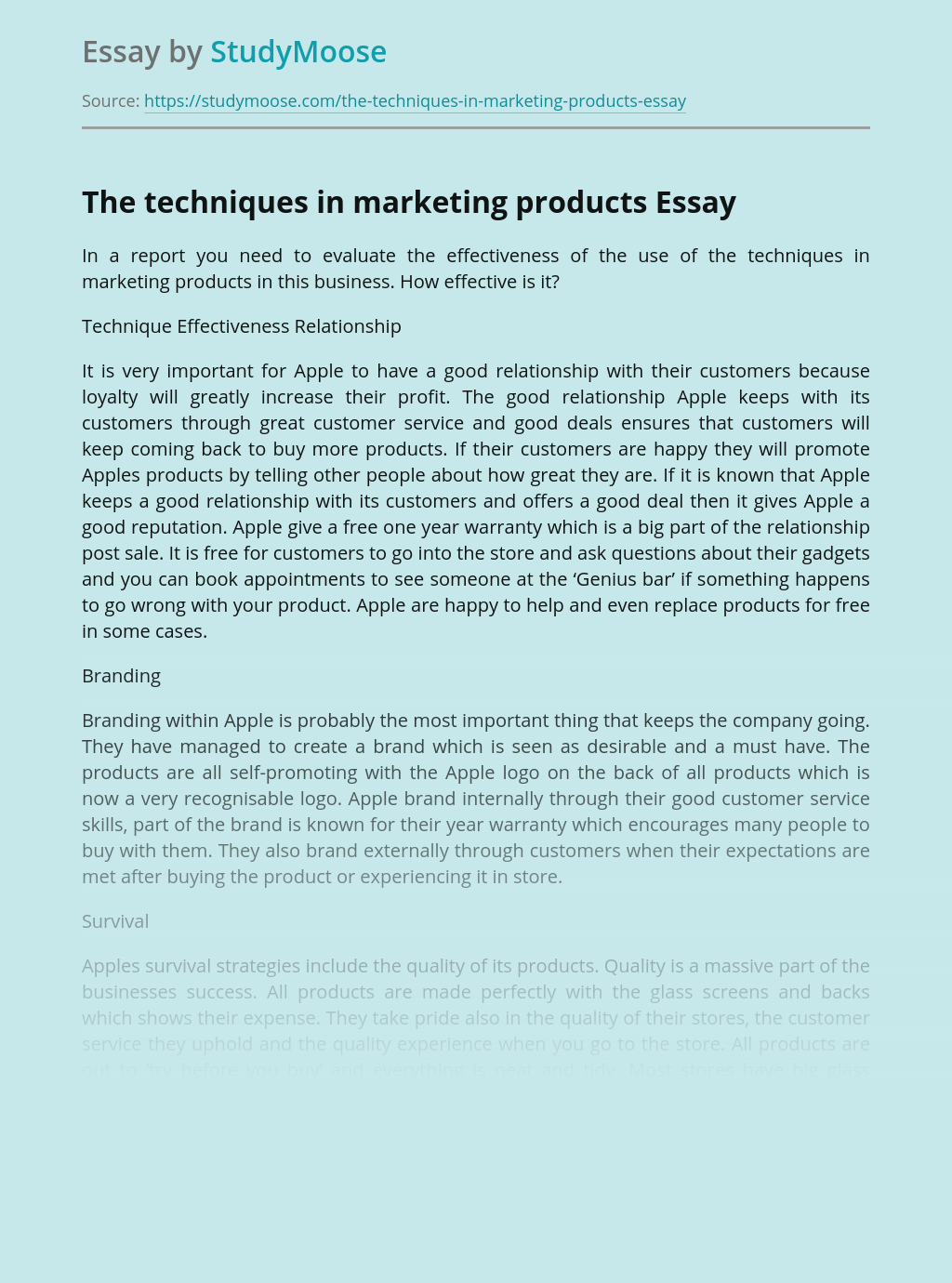 The techniques in marketing products