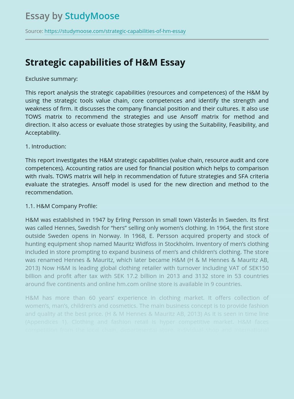 Strategic capabilities of H&M