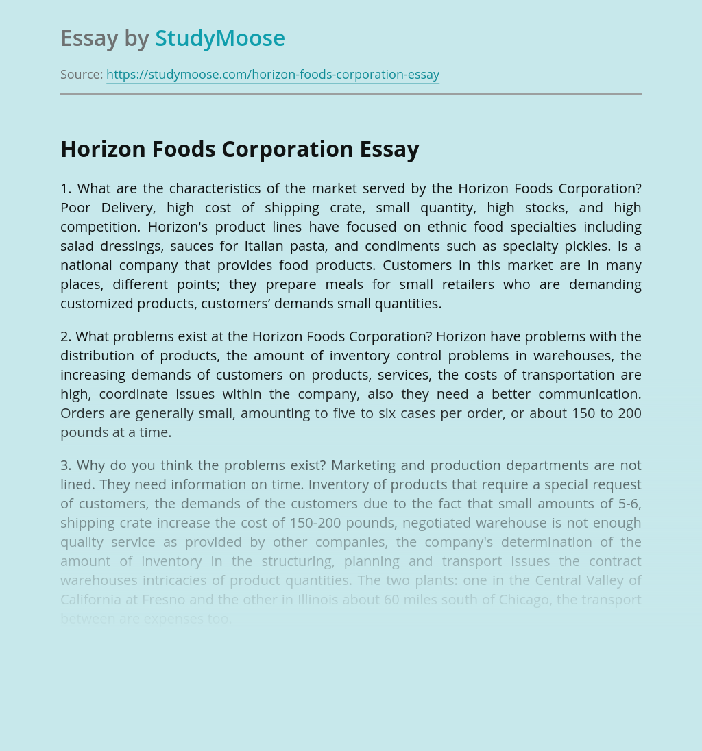 Horizon Foods Corporation