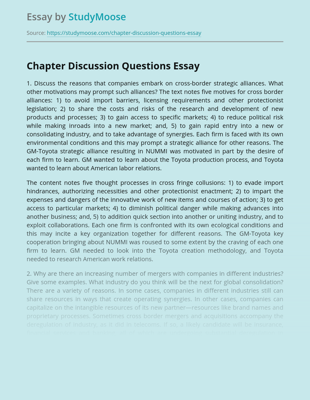 ?Chapter Discussion Questions