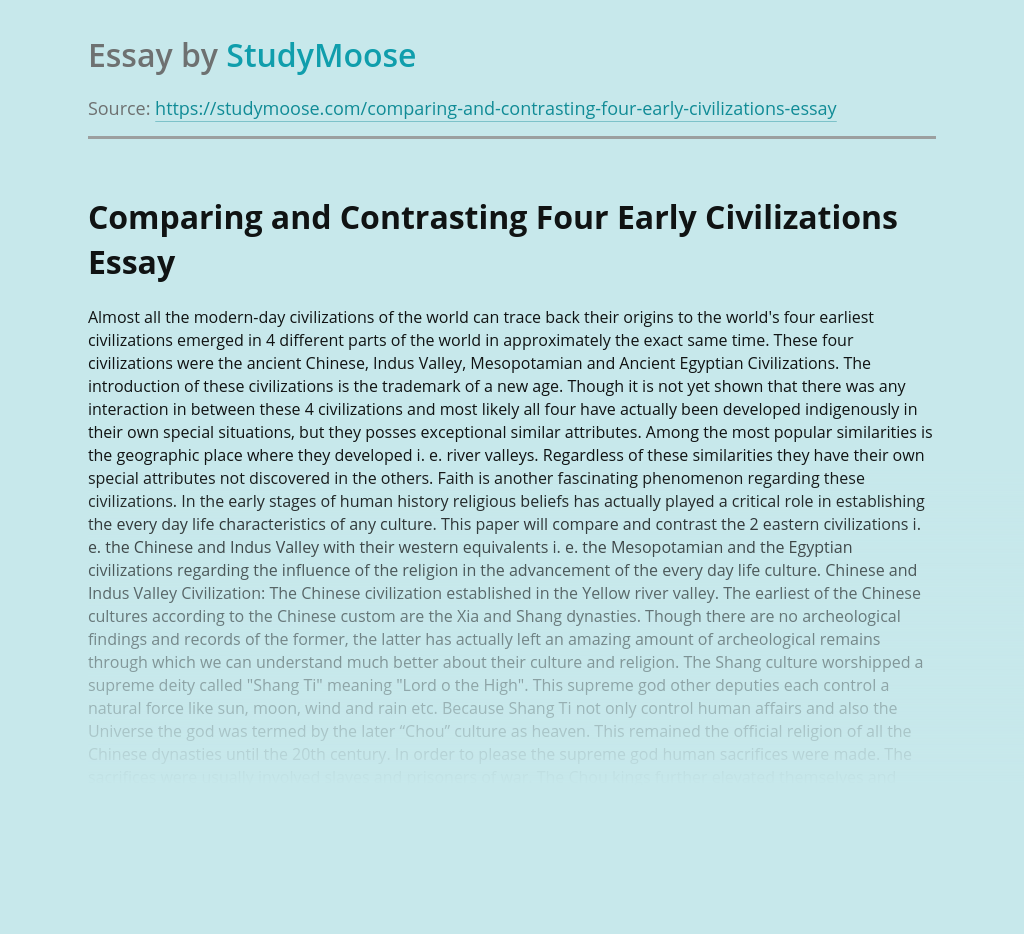 Comparing and Contrasting Four Early Civilizations