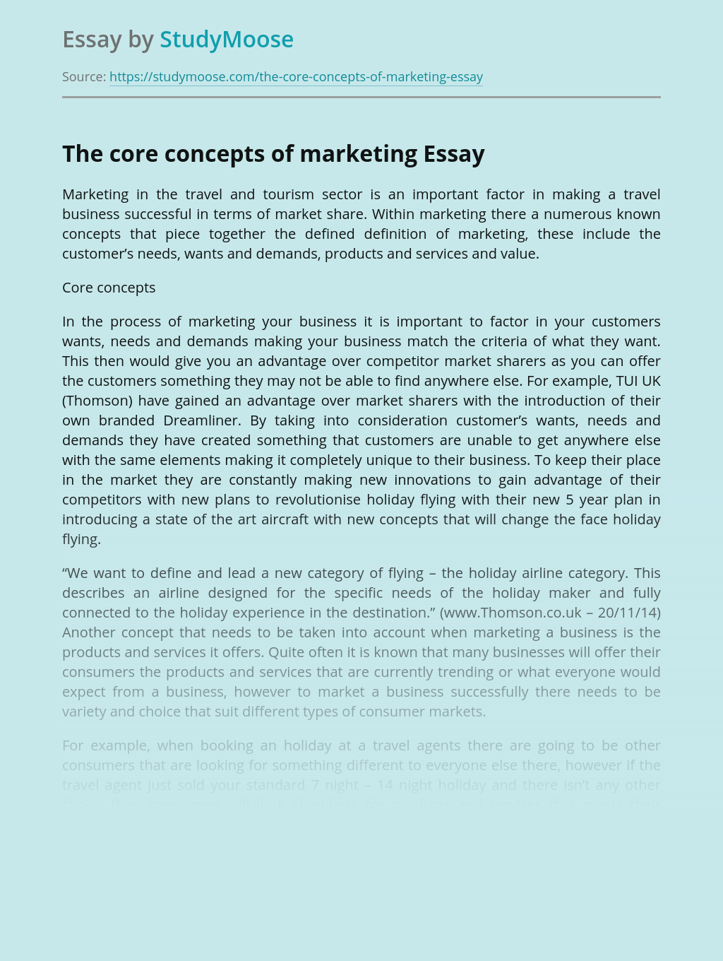 The core concepts of marketing
