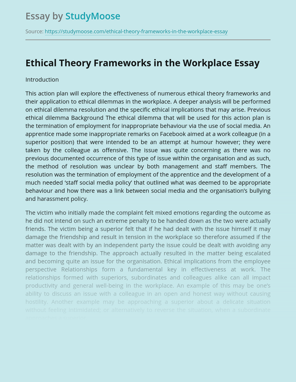 Ethical Theory Frameworks in the Workplace