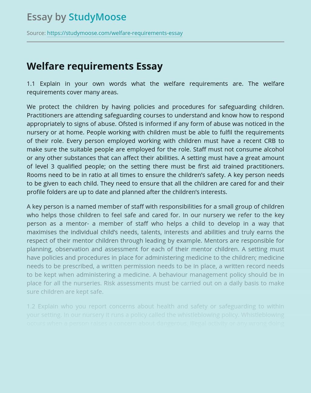 Welfare requirements