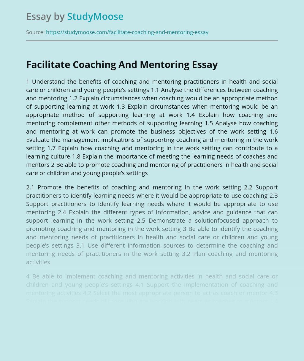 Facilitate Coaching And Mentoring