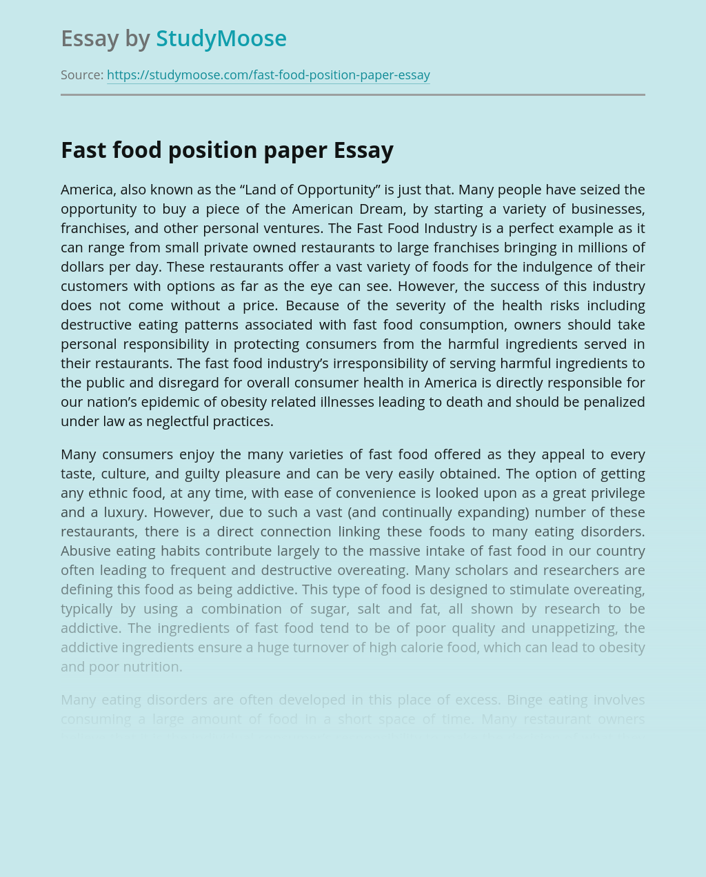 Fast food position paper Free Essay Example