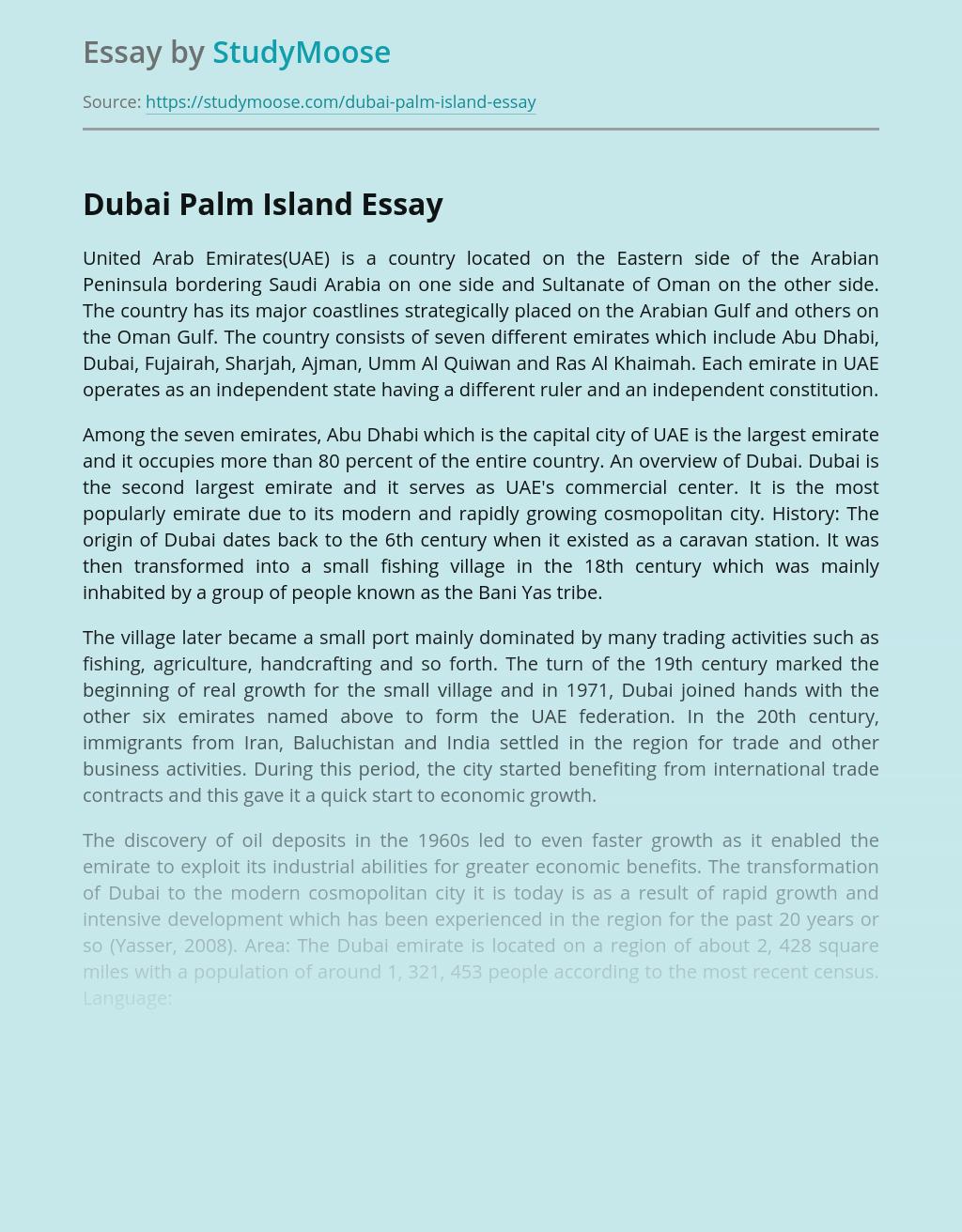 Dubai Palm Island in Hospitality Industry