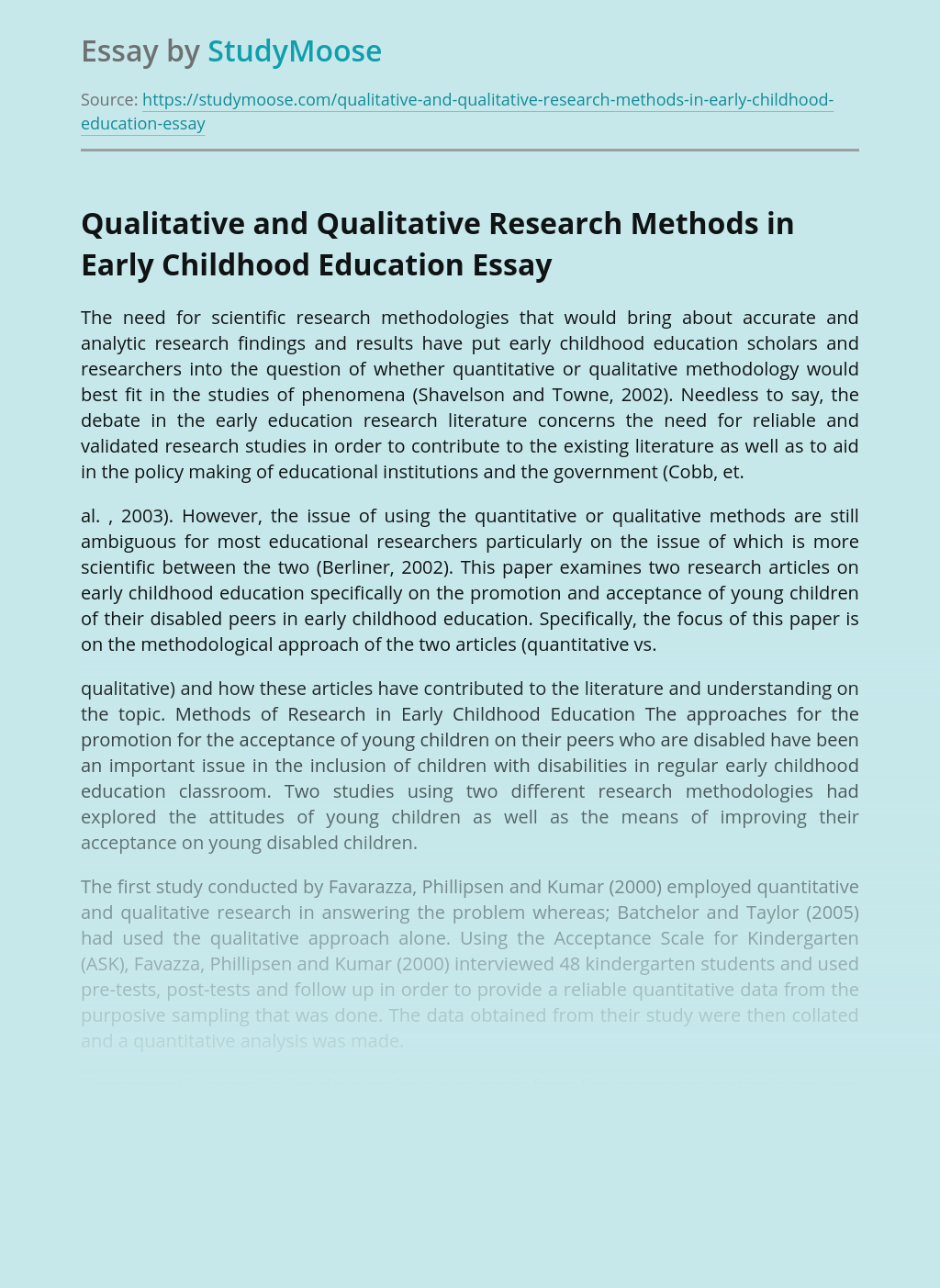 Qualitative and Qualitative Research Methods in Early Childhood Education