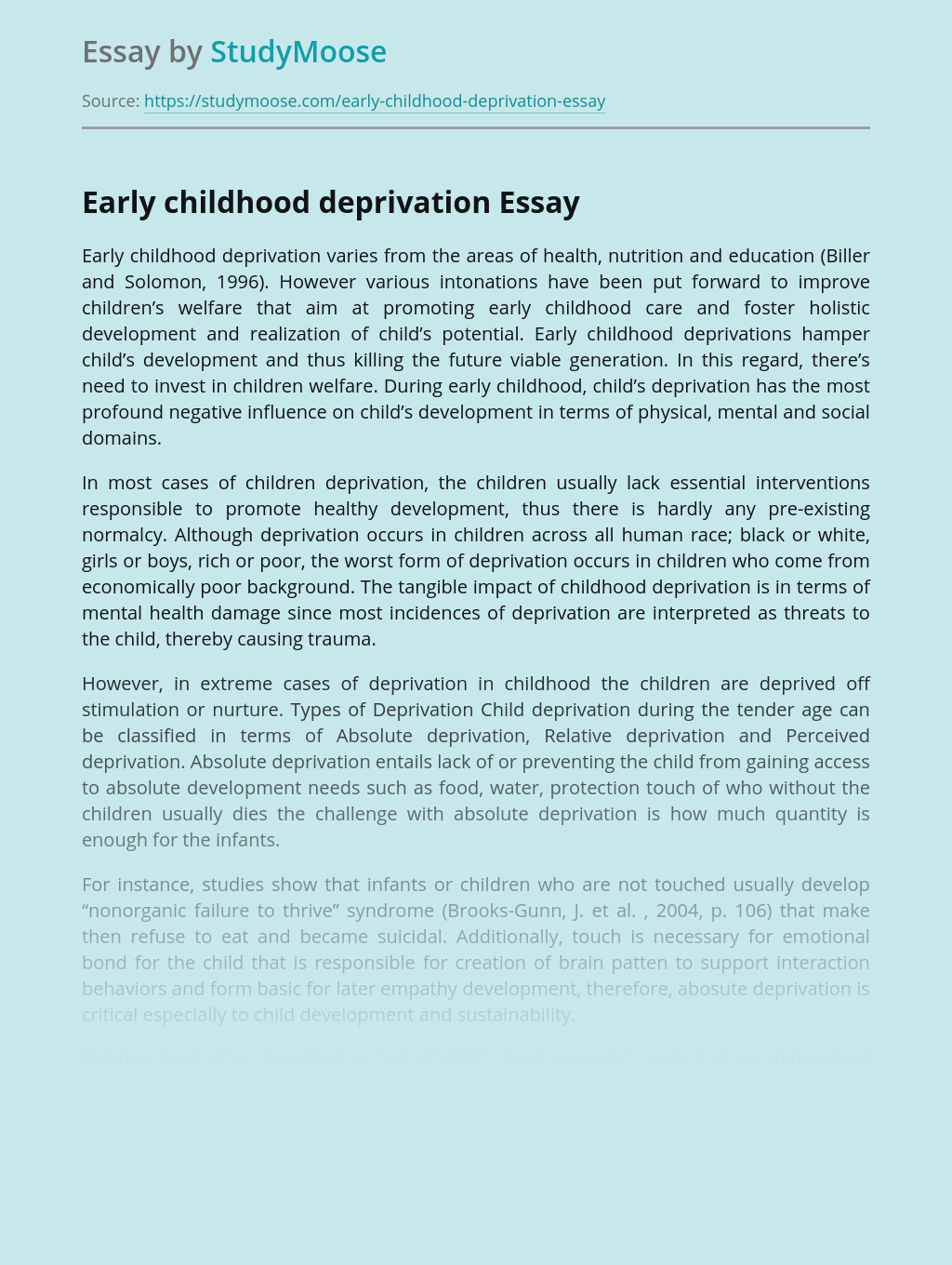 Early childhood deprivation