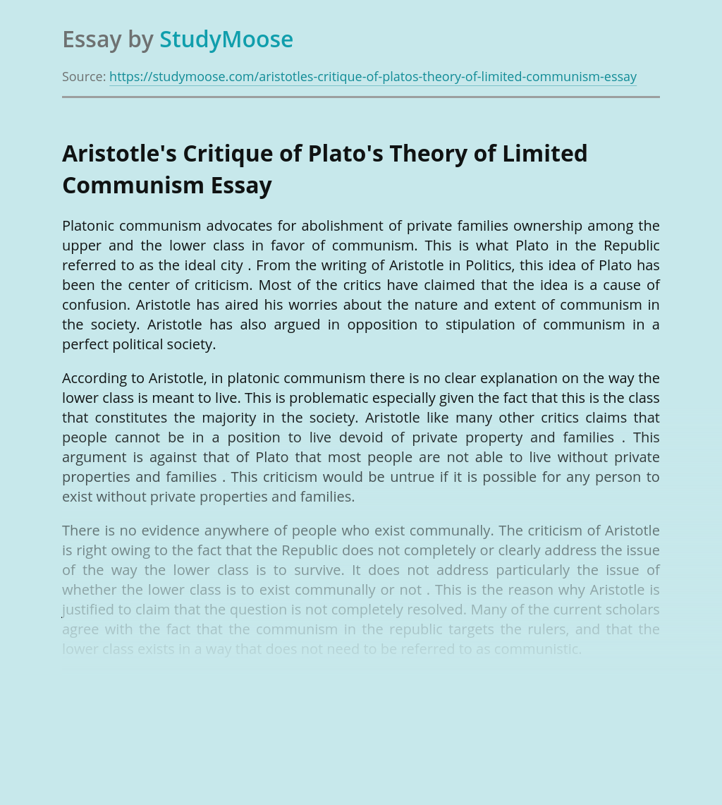 Aristotle's Critique of Plato's Theory of Limited Communism