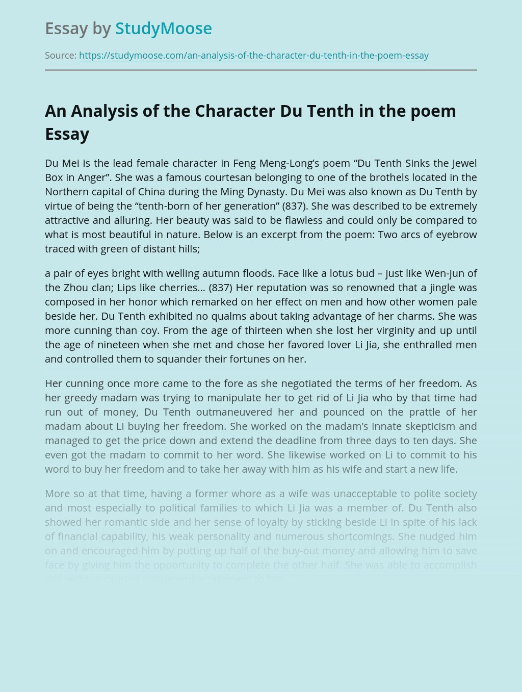 An Analysis of the Character Du Tenth in the poem