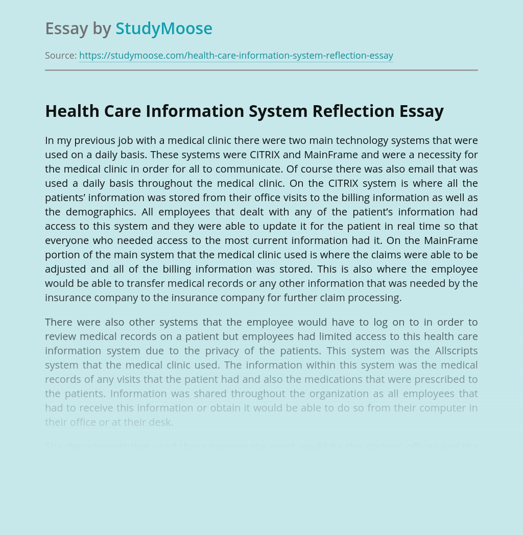 Health Care Information System Reflection