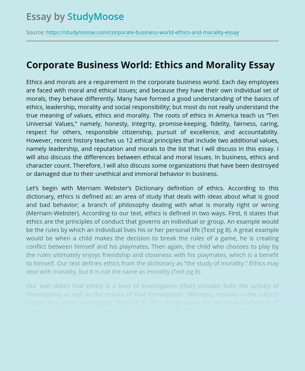 Corporate Business World: Ethics and Morality