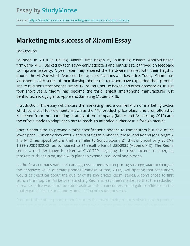 Marketing mix success of Xiaomi