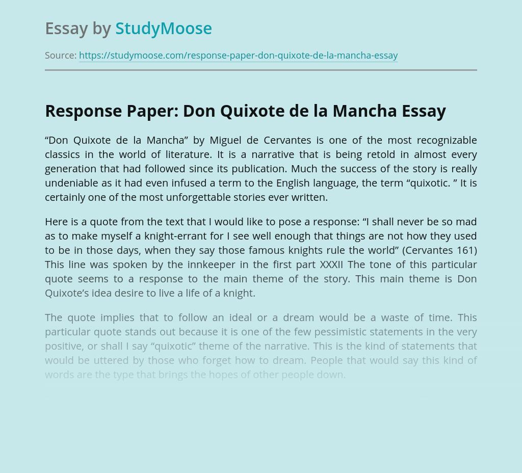 Dream and Adventure in Life of Don Quixote