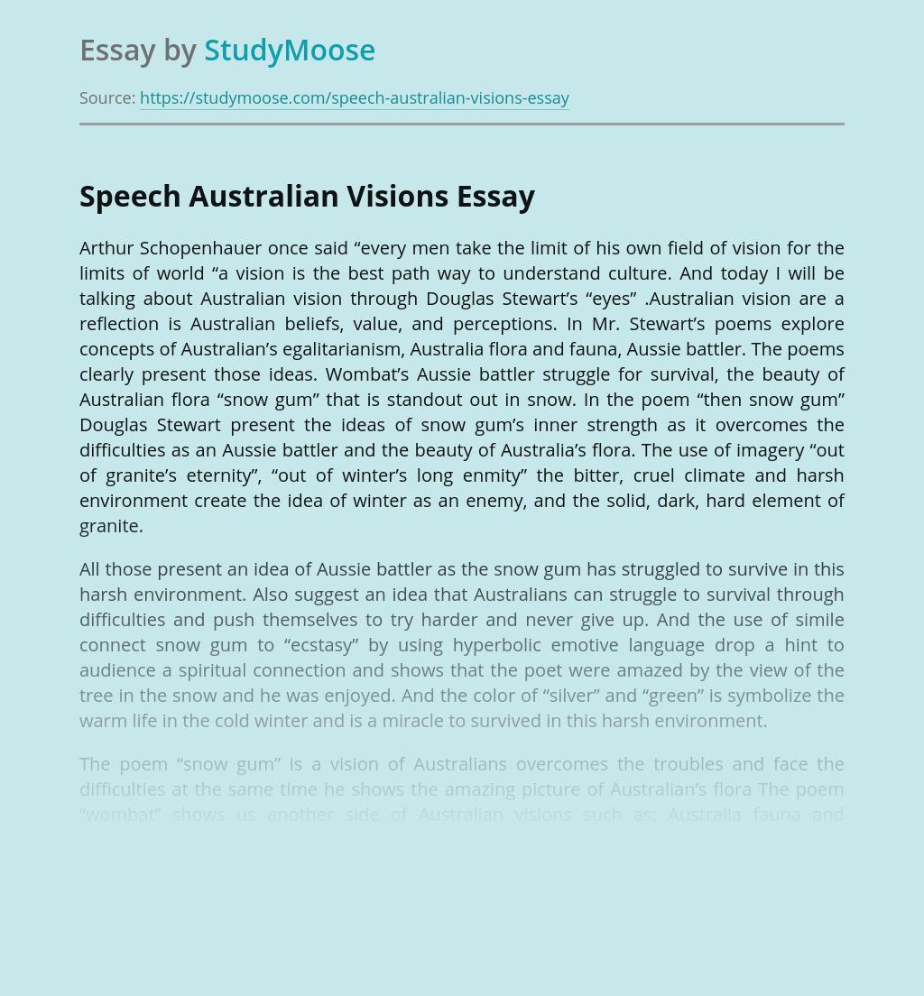 Speech Australian Visions