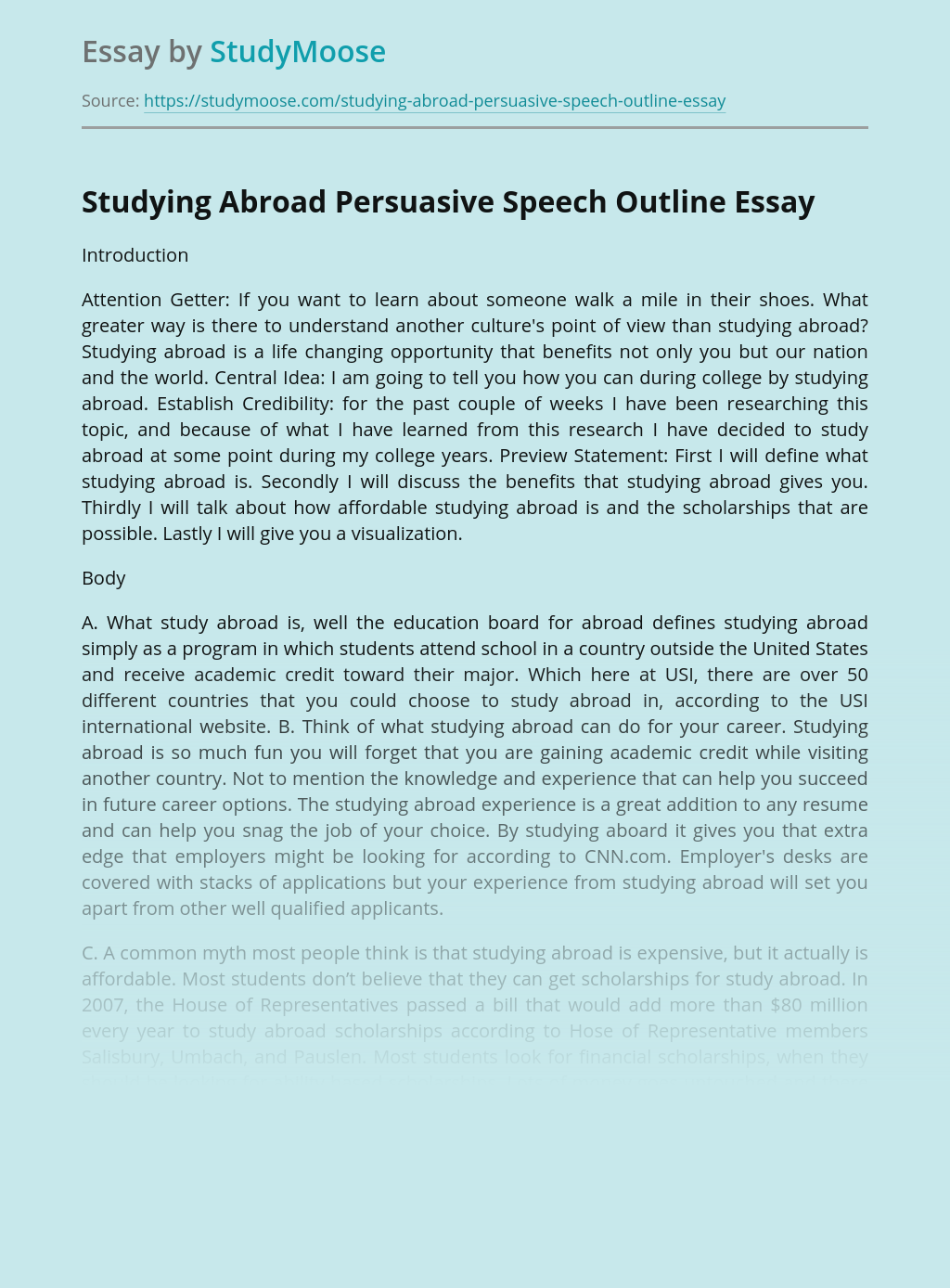 Studying Abroad Persuasive Speech Outline