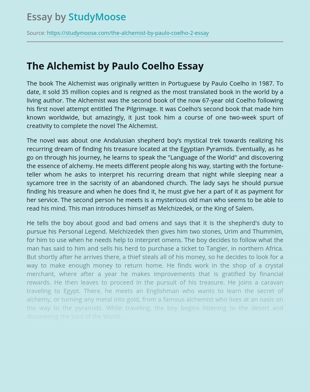 Purpose Of Human Life in Coelho's Alchemist