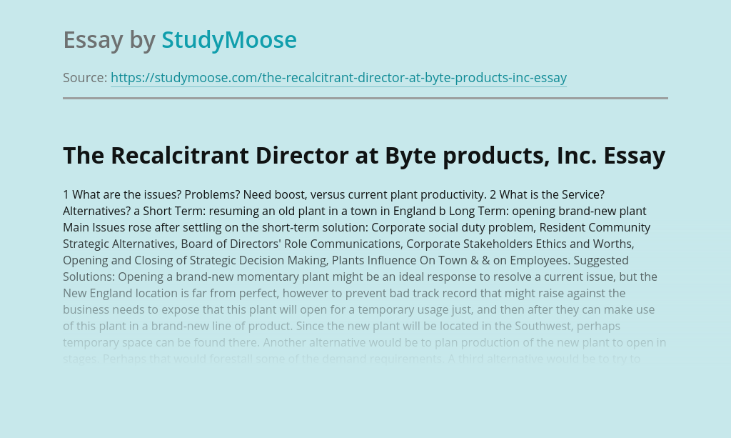 The Recalcitrant Director at Byte products, Inc.