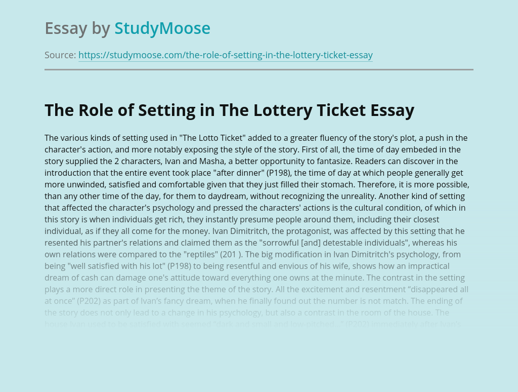 The Role of Setting in The Lottery Ticket