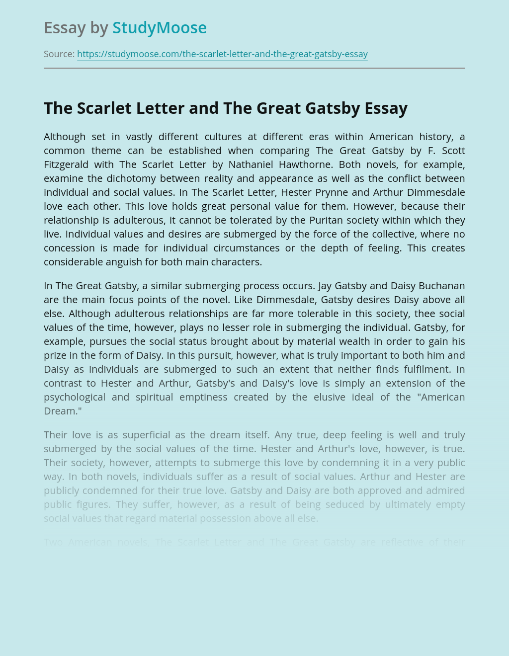 The Scarlet Letter and The Great Gatsby