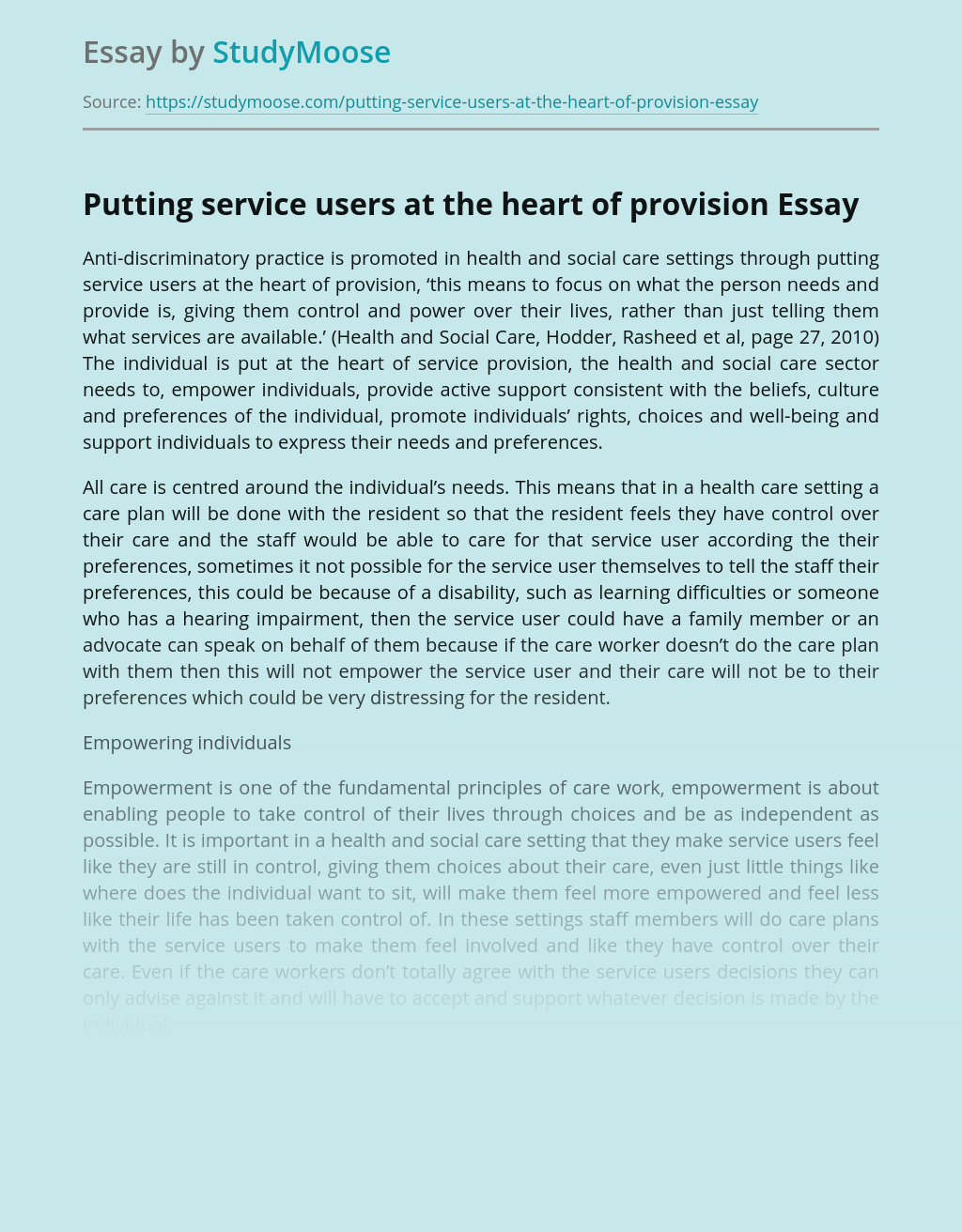 Putting service users at the heart of provision