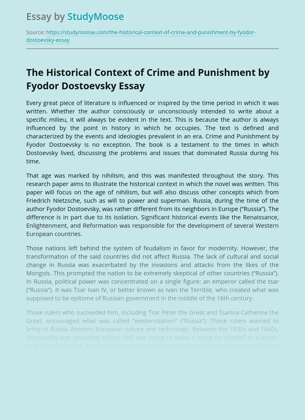 The Historical Context of Crime and Punishment by Fyodor Dostoevsky
