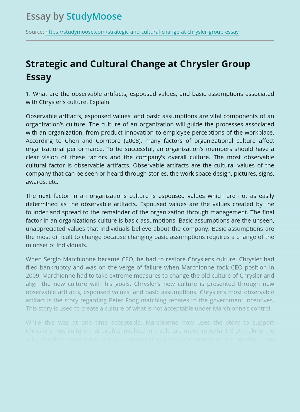 Strategic and Cultural Change at Chrysler Group