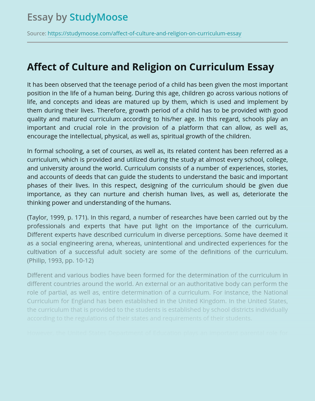 Affect of Culture and Religion on Curriculum