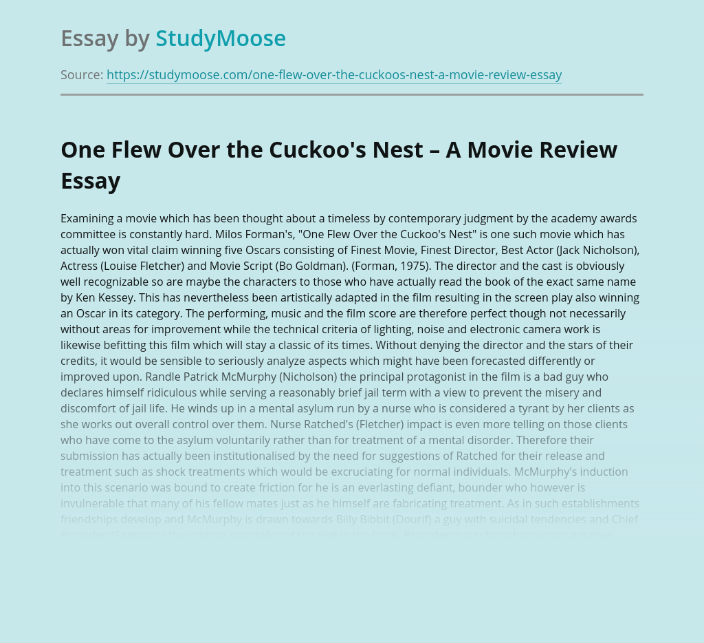 One Flew Over the Cuckoo's Nest – A Movie Review