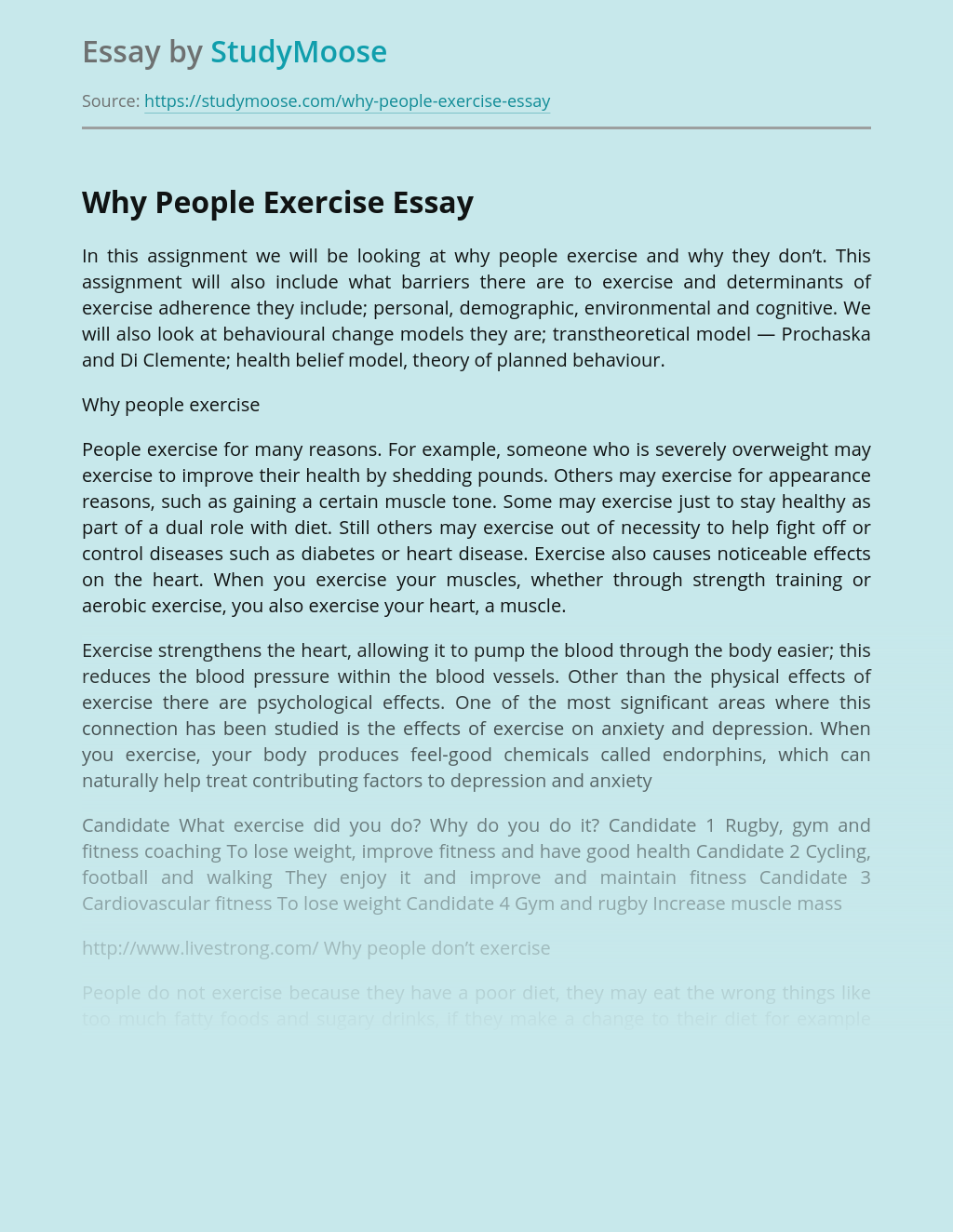 Why People Exercise and Why They Don't