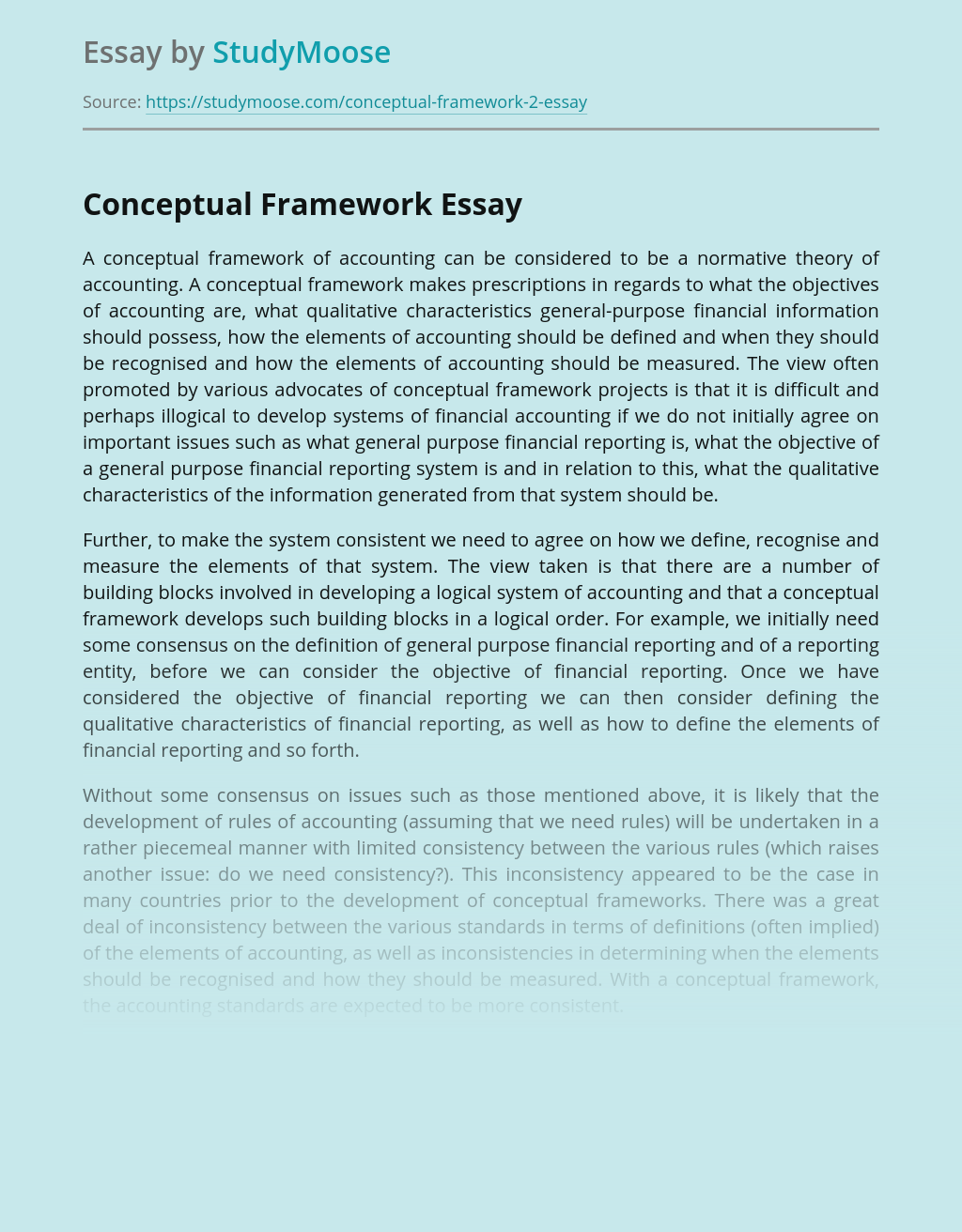 A Conceptual Framework of Accounting