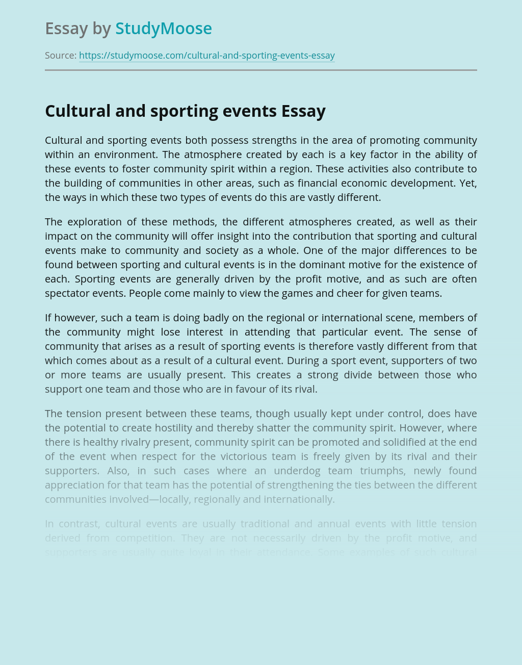 Cultural and sporting events