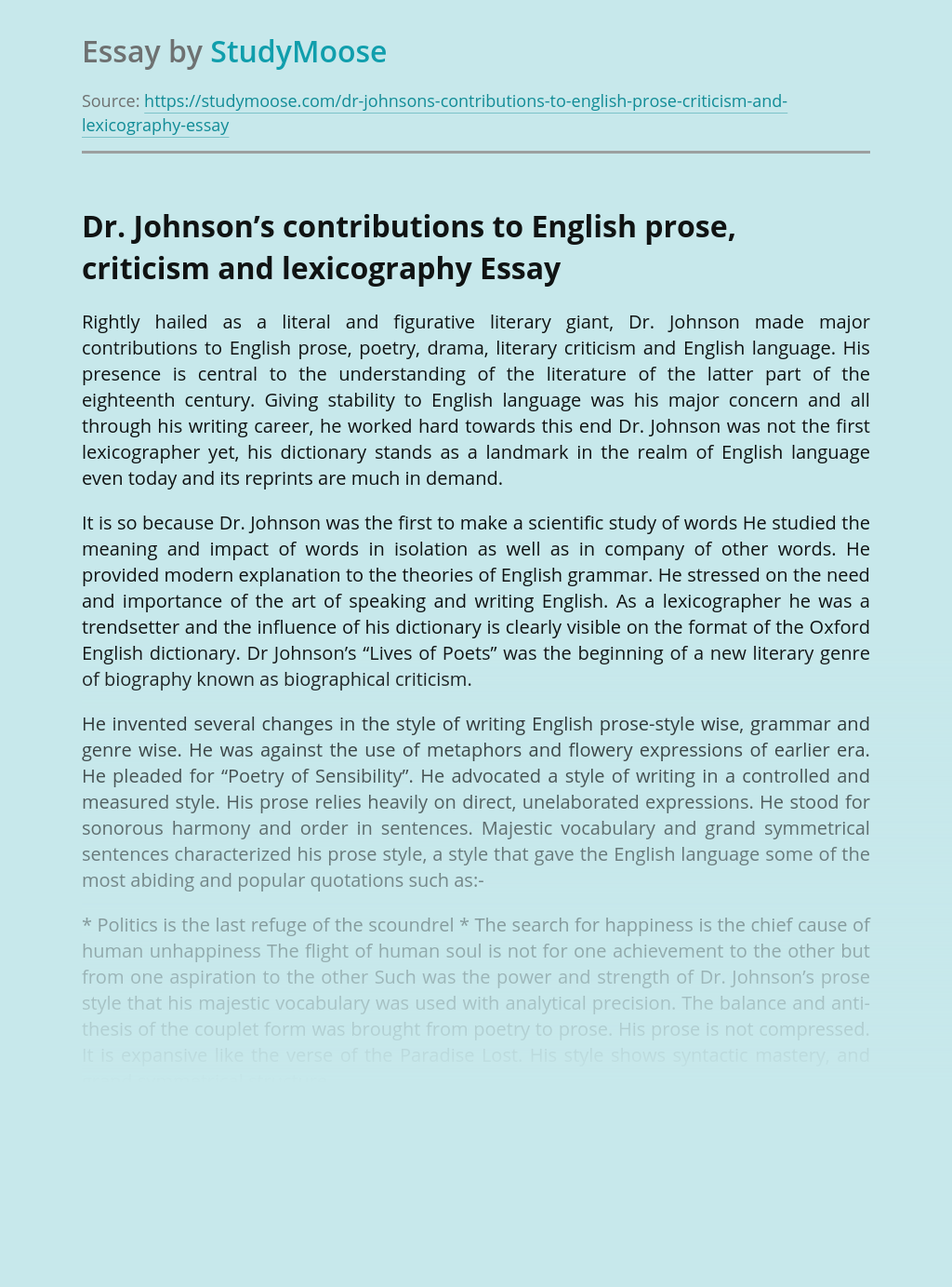 Dr. Johnson's contributions to English prose, criticism and lexicography
